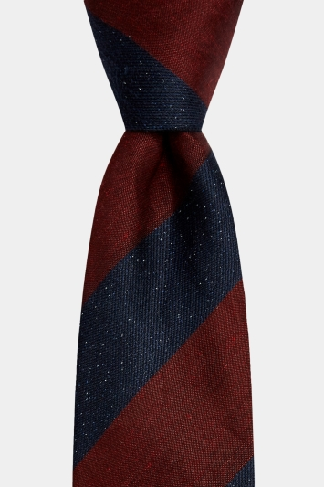 Moss 1851 Navy & Red Scratch Stripe Tie