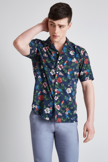 Moss London Extra Slim Fit Navy Short Sleeve Paradise Print Revere Collar Casual Shirt