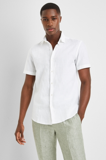 Moss 1851 Slim Fit White Linen Short Sleeve Casual Shirt