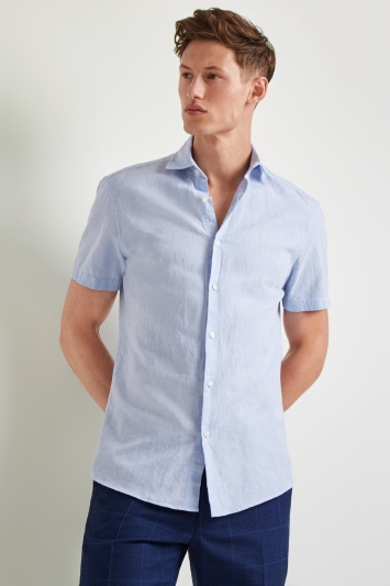 Moss 1851 Slim Fit Sky Linen Short Sleeve Casual Shirt