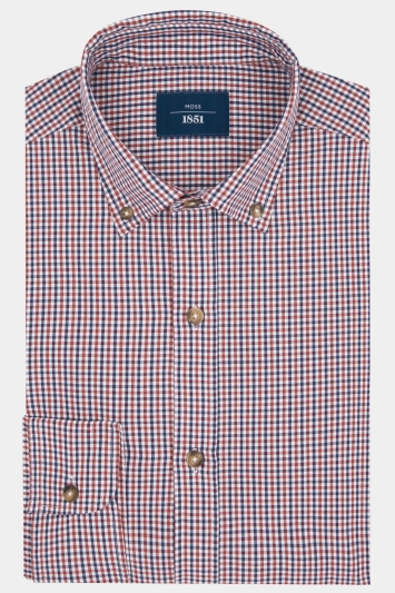 Moss 1851 Slim Fit Red Check Button Down Casual Shirt