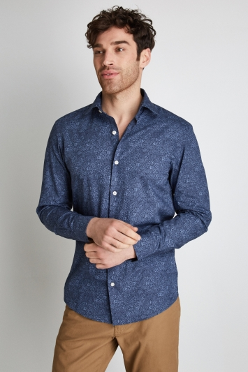 Moss 1851 Slim Fit Blue Print Casual Shirt