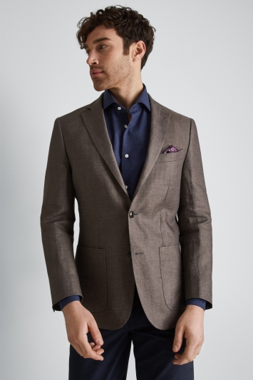 Moss 1851 Tailored Fit Brown Linen Jacket