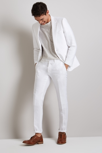 Moss London Skinny Fit White Linen Jacket