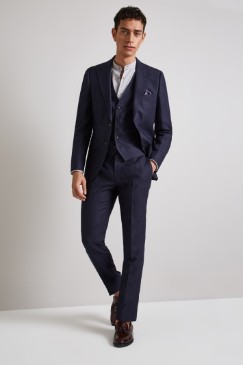Moss London Skinny Fit Navy Linen Jacket