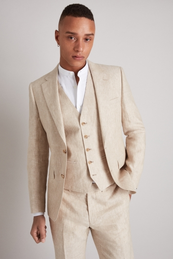 Moss London Skinny Fit Stone Linen Jacket