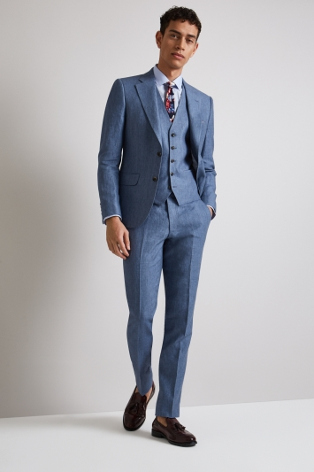 Moss London Skinny Fit Mid Blue Linen Jacket