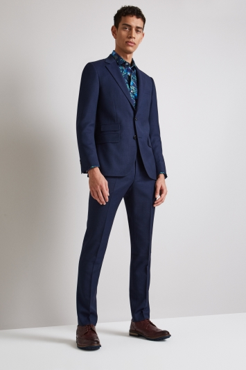 Moss London Skinny Fit Blue Birdseye Jacket