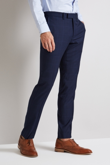 Moss London Skinny Fit Blue Prince of Wales Check Trousers