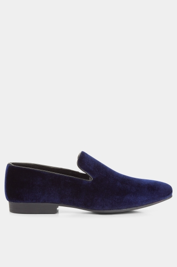 Moss London Brook Navy Velvet Loafer