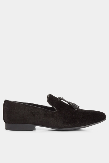 Moss London Black Velvet Tassel Loafer