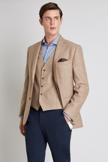 Moss 1851 Tailored Fit Camel Blue Windowpane Jacket