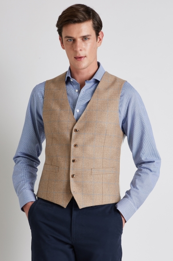 Moss 1851 Tailored Fit Camel Blue Windowpane Waistcoat