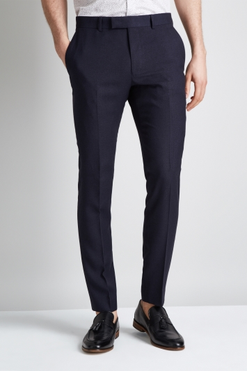 Moss London Skinny Fit Navy Crepe Trouser