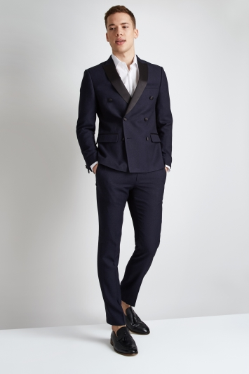 Moss London Skinny Fit Navy Crepe Double Breasted Jacket