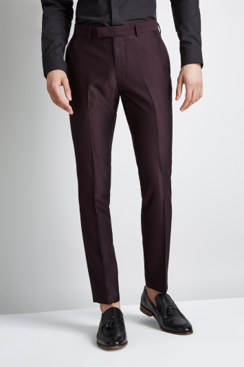 Moss London Skinny Fit Burgundy Crepe Trousers