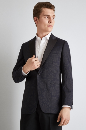 Moss 1851 Tailored Fit Navy Foral Dress Jacket