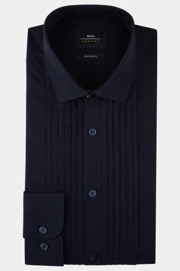 Moss London Premium Extra Slim Fit Navy Single Cuff Pleated Dobby Dress Shirt