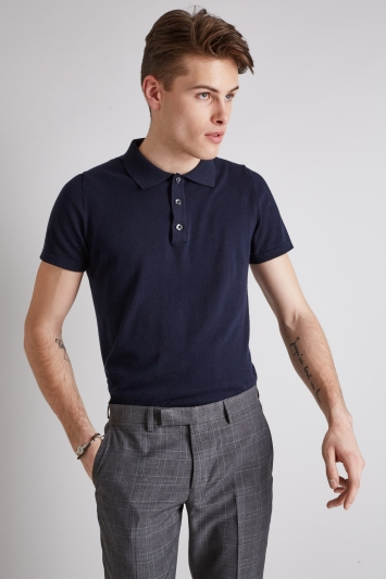 Moss London Navy Short-Sleeve Knitted Cotton Polo Shirt