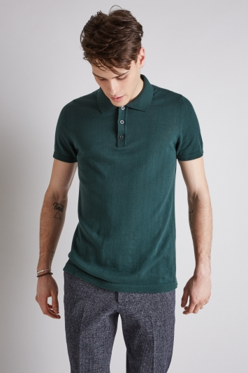 Moss London Dark Green Short-Sleeve Knitted Cotton Polo Shirt