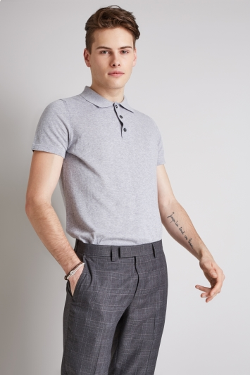 Moss London Silver Short-Sleeve Knitted Cotton Polo Shirt