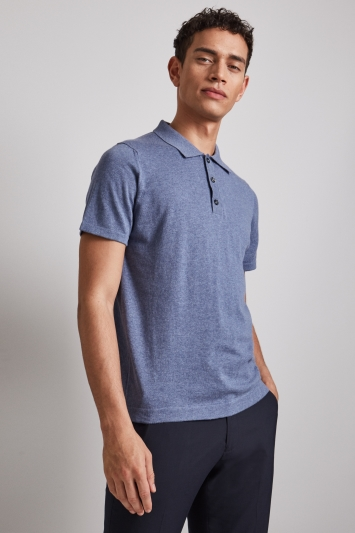 Moss London Blue Marl Short-Sleeve Knitted Cotton Polo Shirt