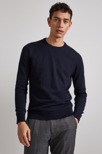 Moss London Navy Long-Sleeve Cotton Crew Neck Jumper