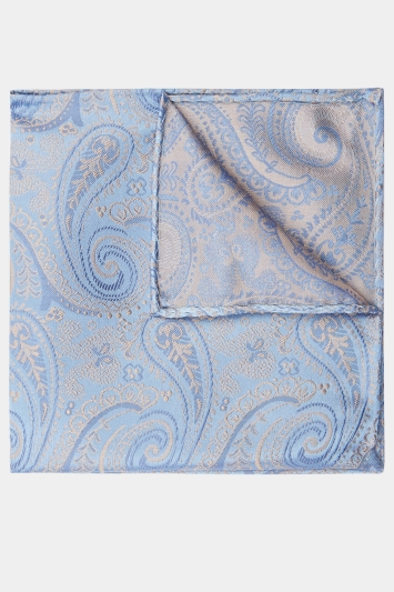 Moss 1851 Sky & Gold Paisley Pocket Square