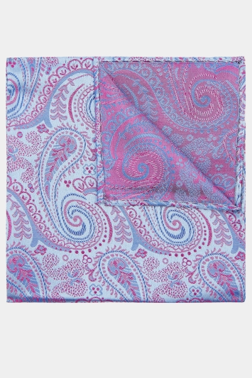 Moss 1851 Sky & Purple Paisley Pocket Square