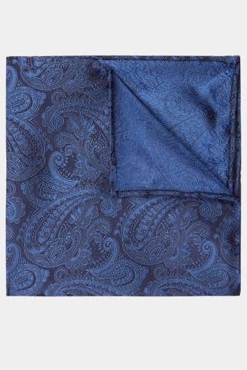Moss 1851 Navy Paisley Pocket Square