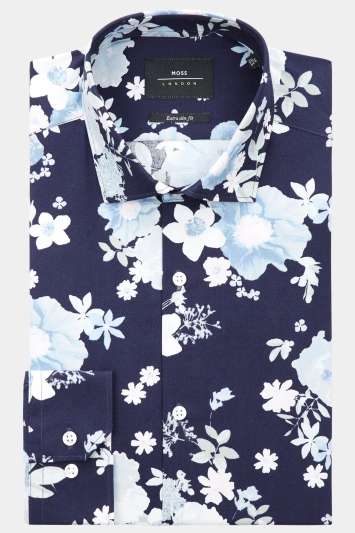 Moss London Extra Slim Fit Navy & Pink Single Cuff Floral Shirt