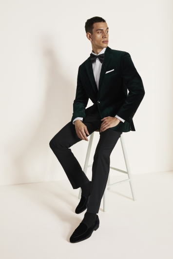 Moss 1851 Tailored Fit Green Velvet Dress Jacket