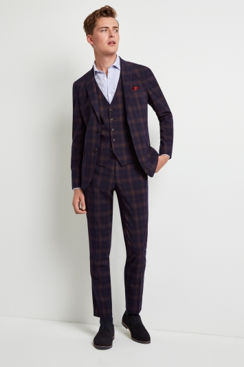 Moss London Skinny Fit Unstructured Navy Rust Check Jacket