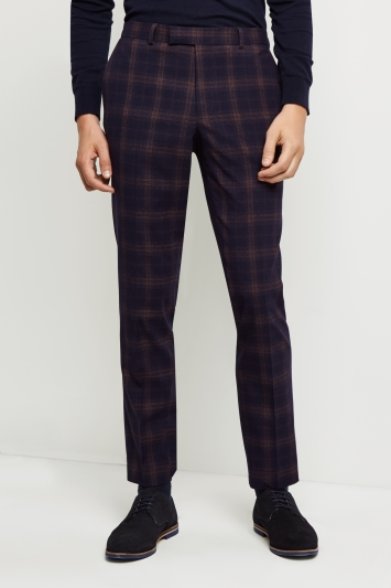Moss London Skinny Fit Unstructured Navy Rust Check Trousers