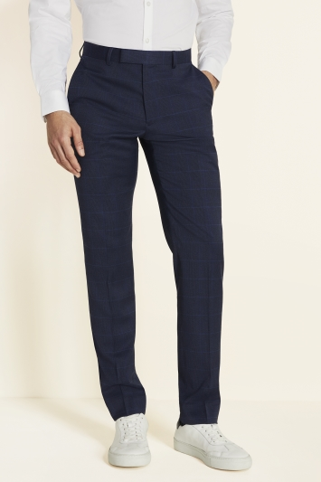 Moss London Skinny Fit Unstructured Blue Check Trousers