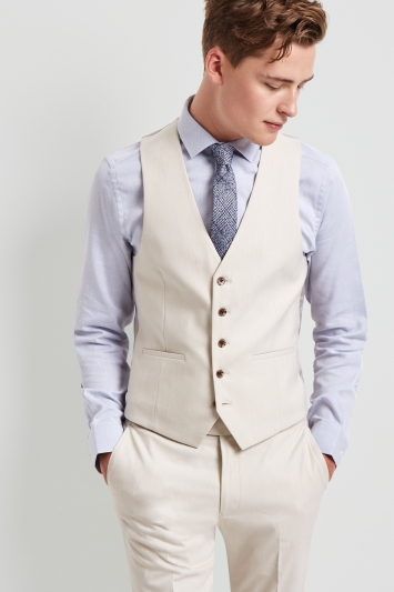 Moss London Skinny Fit Unstructured Ice Latte Waistcoat