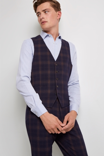 Moss London Skinny Fit Unstructured Navy Rust Check Waistcoat