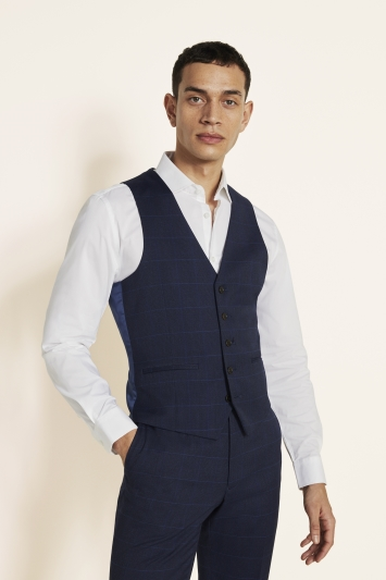 Moss London Slim Fit Blue Check Waistcoat