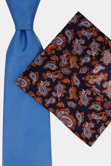 Moss Esq. Sky & Orange Paisley Tie & Pocket Square Set