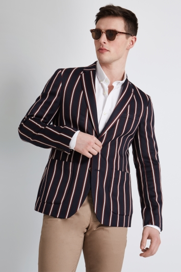 Moss London Skinny Fit Navy Burgundy Boat Stripe Jacket