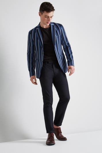 Moss London Skinny Fit Azure Blue Navy Boat Stripe Jacket