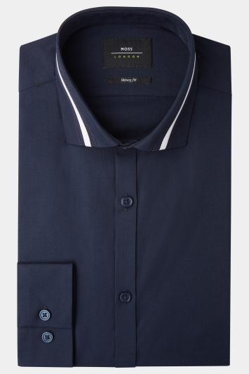 Moss London Skinny Fit Navy Single Cuff Stripe Collar Shirt
