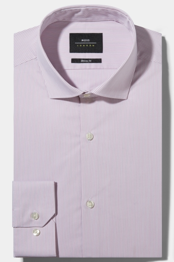 Moss London Skinny Fit Pink Single Cuff Bengal Stripe Stretch Shirt