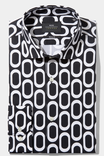 Moss London Skinny Fit Black & White Single Cuff Circle Print Stretch Shirt