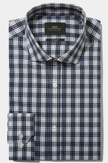 Moss London Skinny Fit Navy Single Cuff Check Stretch Shirt