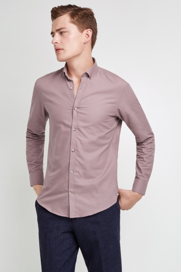 Moss London Skinny Fit Pink Single Cuff Oxford Button Down Casual Shirt