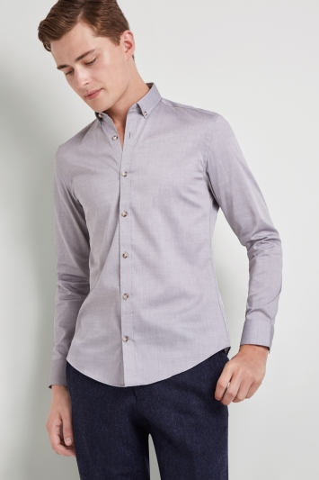 Moss London Skinny Fit Grey Single Cuff Oxford Button Down Casual Shirt