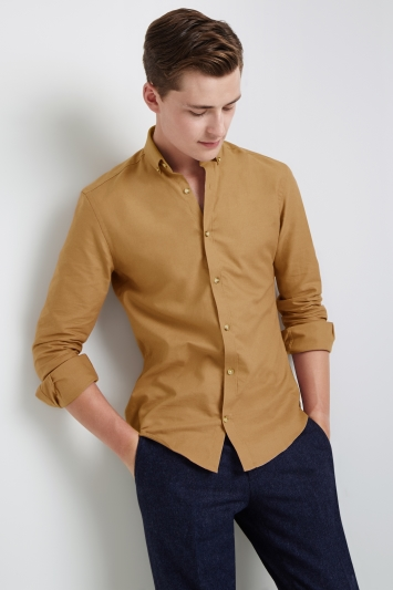 Moss London Skinny Fit Camel Single Cuff Oxford Button Down Casual Shirt