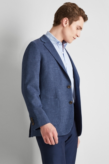 Moss 1851 Tailored Fit Blue Open Weave Jacket