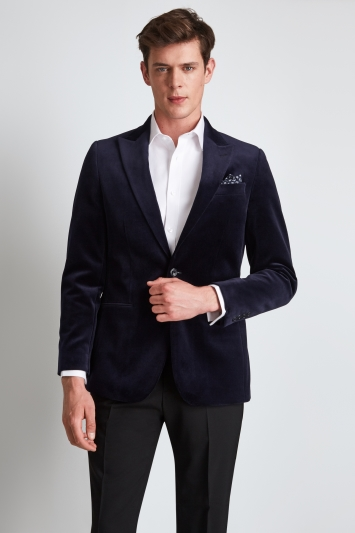 Hardy Amies Tailored Fit Blue Velvet Dress Jacket